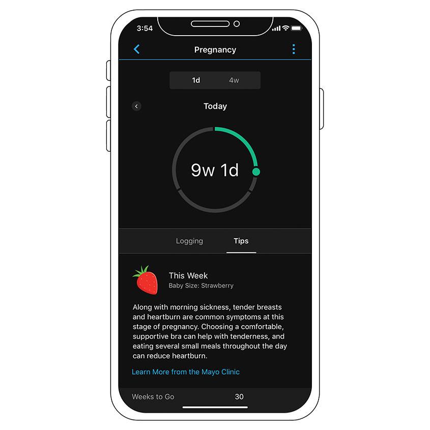 Foto Garmin Pregnancy tracking app