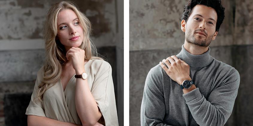 Vrouw en man die een Olympic horloge dragen