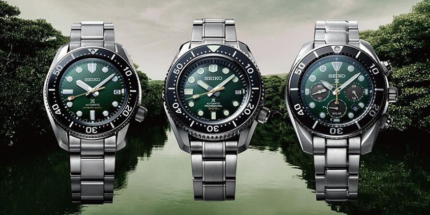 Serie groene Seiko jubileumhorloges