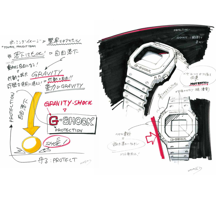 Afbeelding van originele schets van de eerste G-Shock