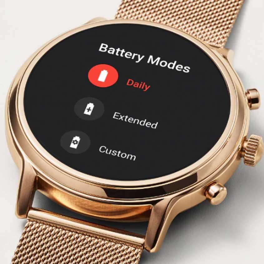 Foto battery modes op Fossil smartwatch