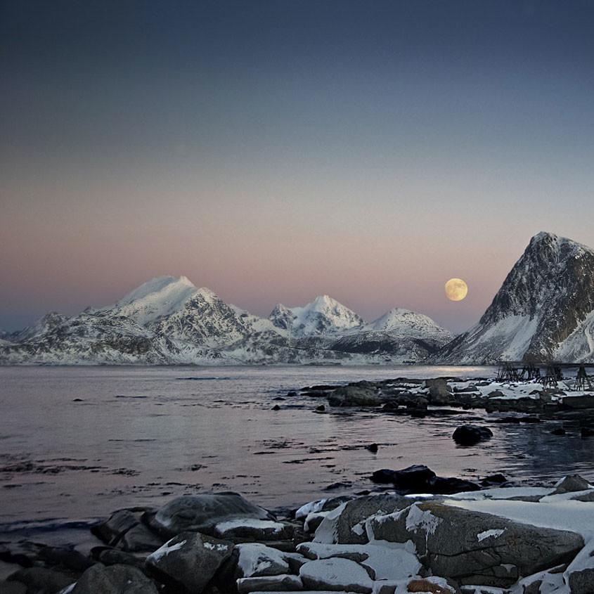Foto arctische avondlucht